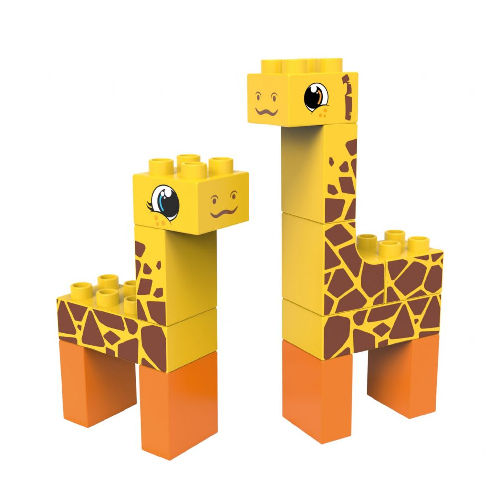 BiOBUDDi - Steppe Giraffes/Deer 2 in 1 - Eco Friendly Block Set - 14 Blocks